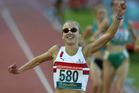 Paula Radcliffe after she won the gold medal in the women's 800m final at the 2002 Commonwealth Games. Photo / Brett Phibbs