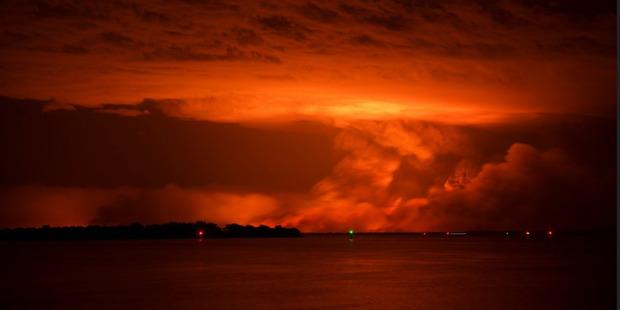 The glow of bush fires in Waroona, Western Australia. Photo / Supplied