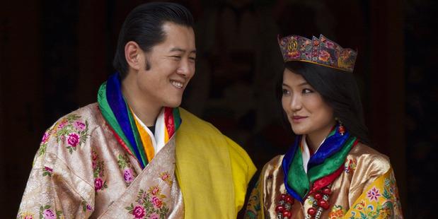 Jigme Khesar Namgyel Wangchuck and Queen Jetsun Pema. Photo / AP
