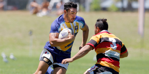 Bay of Plenty and All Blacks Sevens player Teddy Stanaway eyes a gap in the defeat to Waikato at Blake Park on Saturday. Photo / Andrew Warner