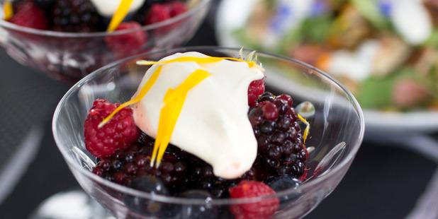 Berries with yoghurt cream. Photo / Nick Reed