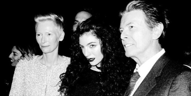 Lorde poses with actress Tilda Swinton and singer David Bowie. Photo / Instagram