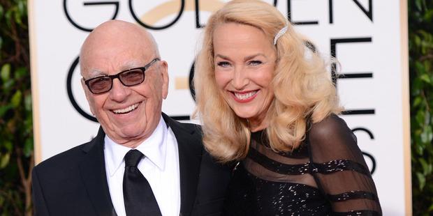 Rupert Murdoch and Jerry Hall attend the Golden Globe Awards. Photo / Supplied