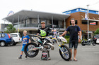 Dustin Price, freestyle motocross rider Luke Price and Cameron Keogh, World's End owner, are excited for this weekend's Wheels 4 Cure Kids event. Photo/George Novak