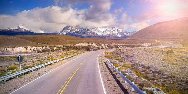 The road to El Chalten village in Argentina. Photo / 123RF