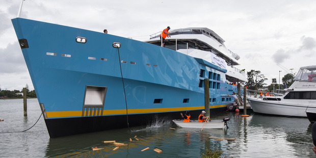 The superyacht will be taken to Auckland's Viaduct to receive its finishing touches. Photo / Jason Oxenham