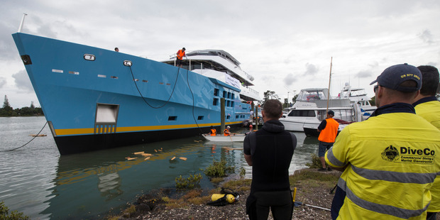 Loading The 50m-long luxury yacht is launched at McMullen & Wing's Mount Wellington shipyard. Photo / Jason Oxenham