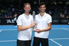 Michael Venus and Mate Pavic celebrate their success in the ASB Classic doubles final. Photo / Doug Sherring