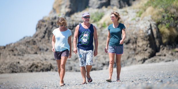 From left, Sue Neureuter, Rod Neureuter and Zoe Neureuter. The Neureuter family are the title holders for the group of islands known as the Noises. Photo / Michael Craig