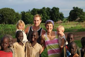Zoe, Jono, Destinee and Ellisha Macleod with some of the many boys who follow them around during the day in Tonj, 2015. Photo/supplied