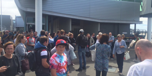 Christchurch airport is evacuated after a fire alarm. Photo: @xgo_de/Twitter