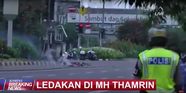 Kompas TV reports on the explosions. Photo: KOMPAS TV/YouTube