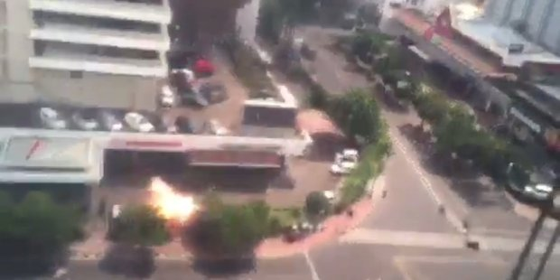 Video grab from World Aggregate News showing the bomb blast. Photo / https://twitter.com/WAGGNews