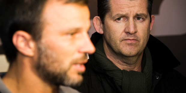 New Zealand All Whites coach Anthony Hudson and New Zealand Football CEO Andy Martin. Photo / Greg Bowker