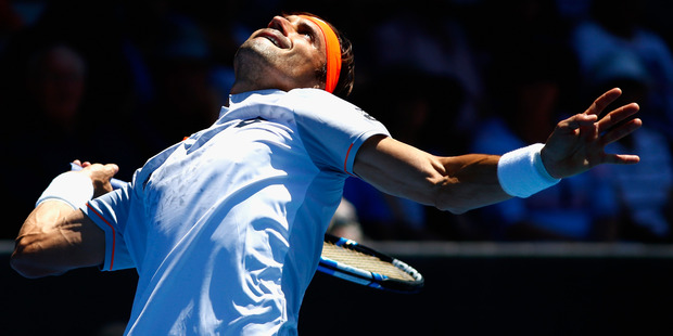 David Ferrer serves at the ASB Classic. Photo / Getty