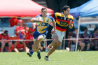 Isaac Te Aute (with ball) in action against Waikato last weekend during a provincial sevens tournament at Mount Maunganui. Photo / Andrew Warner
