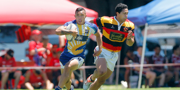 Isaac Te Aute in action against Waikato last weekend during the BOP Provincial Sevens tournament at Mount Maunganui. Photo / Andrew Warner