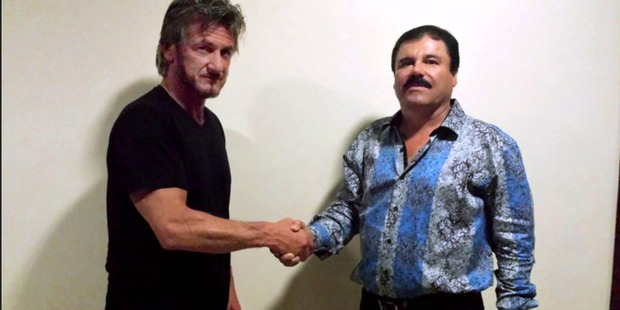 Sean Penn shaking the hand of El Chapo Guzman, Mexican drug lord and fugitive. Photo / Supplied