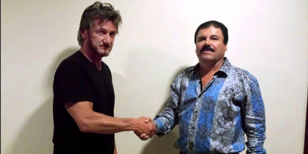 American actor Sean Penn shakes the hand of El Chapo Guzman. Photo / Supplied