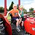 Adam Payne, 4, and Logan Payne, 2, on a tractor. Model Train Show at Memorial Park 10 January 2016. Photo/George Novak