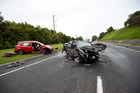 Two cars and a truck collided on SH29 near Maungatapu. Photo/George Novak.