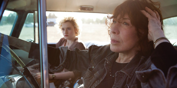 Lily Tomlin (right) and Julia Garner in the film Grandma. Photo / Supplied