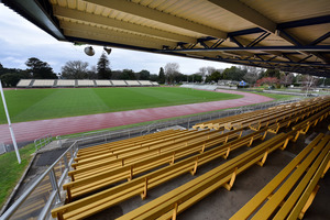 Seating (shown above) is not a permanent feature at Tauranga Domain, extra seating must be brought in for big games and events. Photo/file