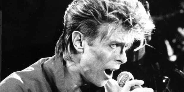 David Bowie singing to a crowd at Western Springs Stadium during his visit in 1987.