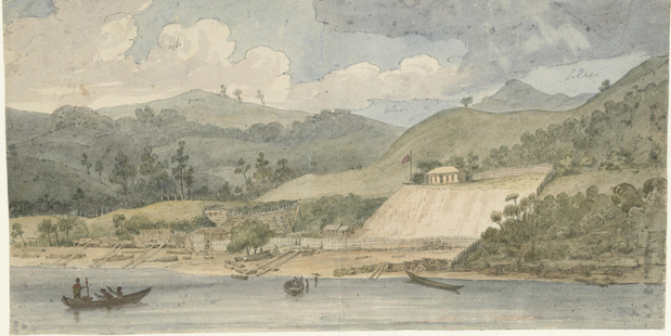 The Deptford Dockyard at Horeke, New Zealand's earliest shipyard, as painted by Augustus Earle in 1828. IMAGE / SUPPLIED