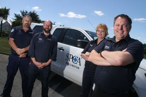 Chief Inspector Ritchie Dawson, left, Animal care and adoptions manager Nick Taylor, operations manager Ros Alsford and Wellington SPCA chief executive Steve Glassey. PHOTO/ANDREW BONALLACK