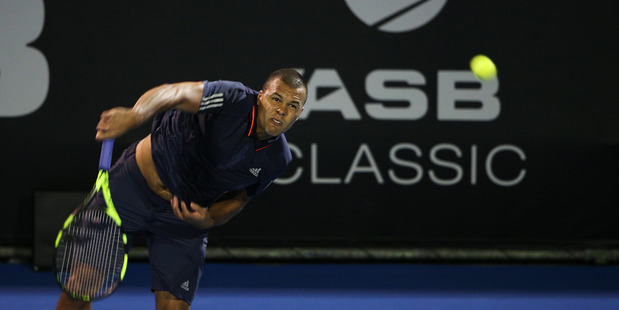 Jo Wilfred Tsonga said he enjoyed his first match in Auckland a lot. Photo / Doug Sherring