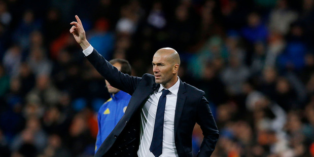 Real Madrid's new head coach Zinedine Zidane gives instructions from the side line. Photo / AP
