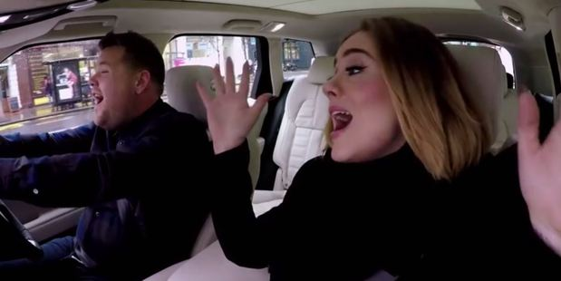 Adele with James Corden on The Late Late Show. Photo / YouTube