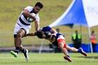 Auckland's Akira Ioane is tackled by Bay of Plenty's Mason Walker at the National Sevens in Rotorua. Photo / Photosport