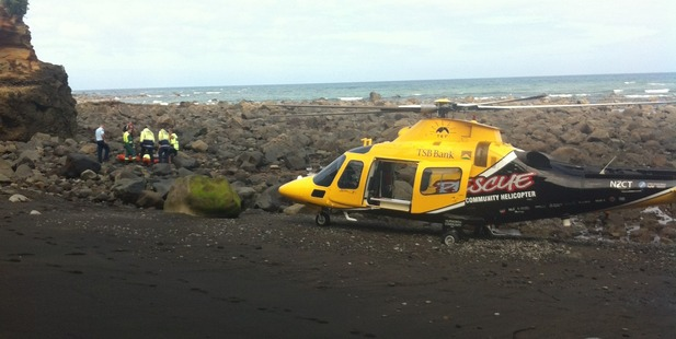 The Taranaki Community Rescue Helicopter had to pick the man up as there is vehicle access to the beach. Photo / Supplied