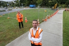 Councillor Brian McLachlan (left) and roading engineer Nick Marshall say relief is at hand for frustrated Riverside Drive commuters. Photo / Michael Cunningham