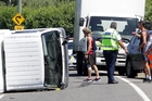 The Mini Movers van rolled on Brookfields Rd on Saturday afternoon but no major injuries were reported. Photo / Paul Taylor