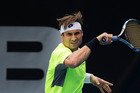 David Ferrer from Spain, during a practice session in preparation for the ASB Classic. Photo / Brett Phibbs