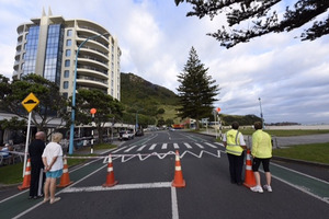 Part of Marine Parade has been cordoned off. Photo/George Novak