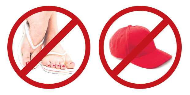 Jandals, hats, exposed bra straps, low tops and backless styles should be kept for the weekend.