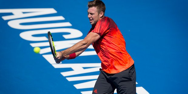 Jack Sock of USA in action at the ASB Classic. Photo / Nick Reed