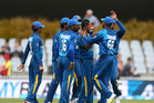 Sri Lanka celebrate a wicket during the fourth ODI against the Black Caps. Photo / www.photosport.nz