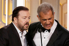 Ricky Gervais and Mel Gibson during their awkward exchange at today's Golden Globes ceremony. Photo/Getty