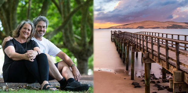 Wendyl Nissen and Paul Little. Right, the Hokianga, a place to get away from the rat race. Photo / Jason Oxenham / Supplied