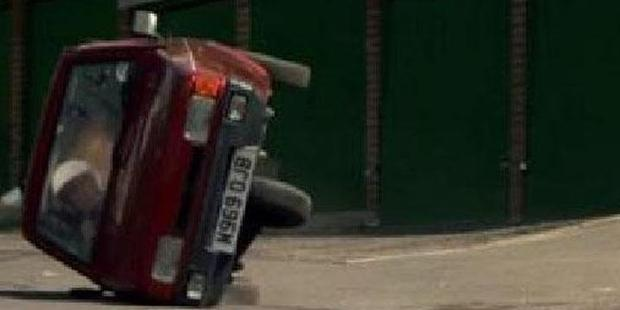 The Reliant Robin stunt was staged. Photo: Top Gear/YouTube