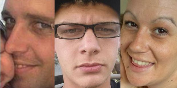 (From left to right) Tim Grainger, 26, Logan Wright, 19, and Amy Katu, 26, died after their Mazda collided with a truck on Oparure Rd in Te Kuiti. Photo / Facebook