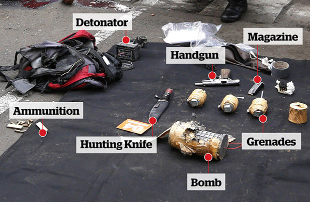 Police found this arsenal in a rucksack carried by one of the attackers. Photo / AFP