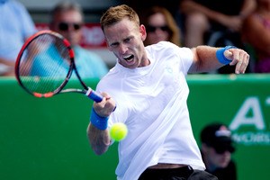 Michael Venus faces Frenchman Benoit Paire. Photo / Jason Oxenham