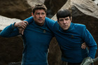 Karl Urban as Bones and Zachary Quinto as Spock in Star Trek Beyond.