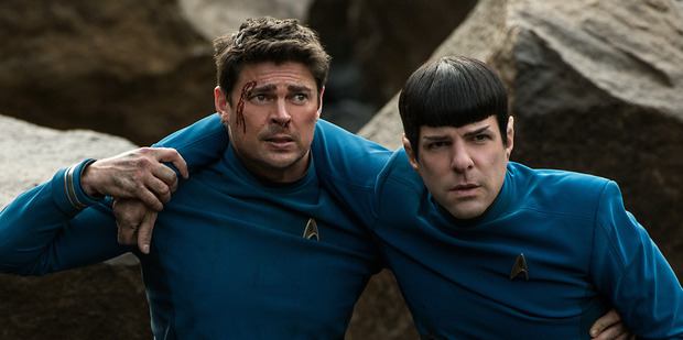 Loading Karl Urban as Bones and Zachary Quinto as Spock in Star Trek Beyond.